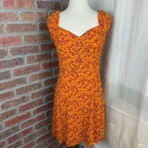 Ten Sixty Sherman Burnt Orange Floral Sundress, L